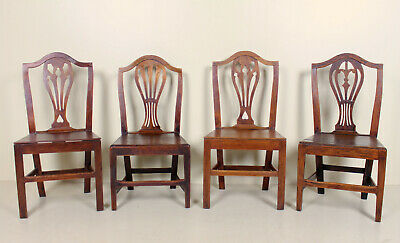 4 Antique Oak Dining Chairs 19th Century English Rustic Country Farmhouse