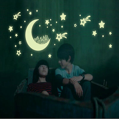 Wall Stickers Glow in the Dark Moon & Stars Home Decor Decals Kids Baby Gift DIY