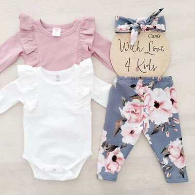 Kid Baby Girl Short / Long Sleeve Top Romper Floral Pant 3PCS Sunsuit Outfit Set