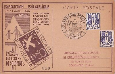 Carte Maximum - Exposition Philatelique Colombes 1946