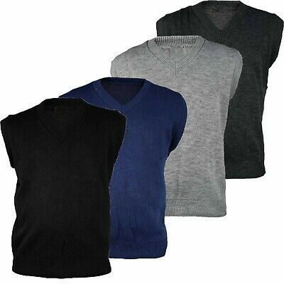 Mens Sleeveless V Neck Slipover Sweater M–2XL Golf Jumper Plain Black Pullover