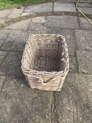 Rectangular Wicker Weave Log Storage Basket with Handles - Large