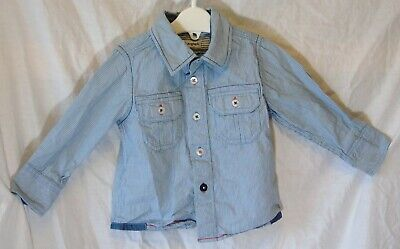 Baby Boys M&S Autograph Blue Pinstripe Long Sleeve Shirt Age 12-18 Months