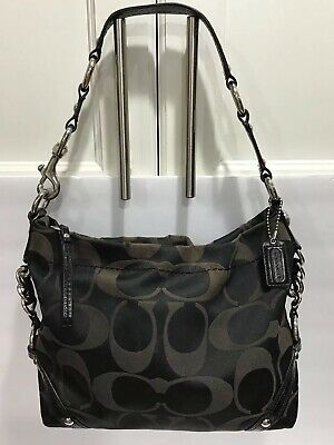 e459aa3f75 Authentic Coach F15250 Carly BLK Signature C Sateen w  Leather Trim shoulder  bag