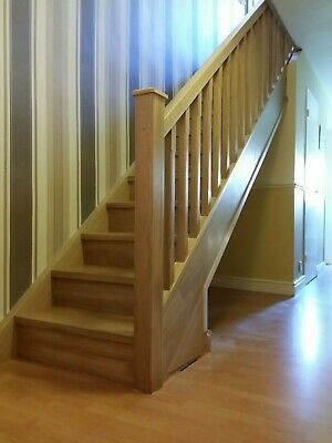 Oak banister Chamfered Spindles + Landing Set including Newel Posts for £617+vat