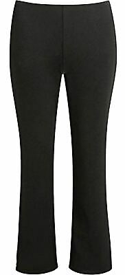 Girls Pull Up School Trouser Finely Ribbed Elasticated Waist Bottom Bootleg Pant
