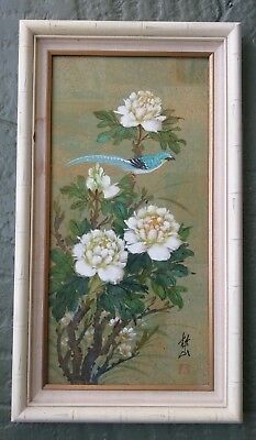 Vintage Japanese / Asian Cork Painting - Blue Bird With Flowers - Signed