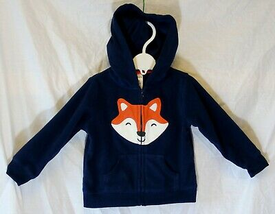Baby Boys Carters Blue Applique Fox Micro Fleece Hooded Jacket Age 12-18 Months