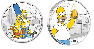 2019 Tuvalu The Simpsons Family 2 oz Silver Proof & 2019 Homer 1 oz Silver Proof