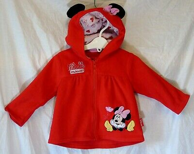 Baby Girls Mothercare Disney Minnie Mouse Fleece Hooded Jacket Age 12-18 Months