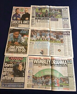 Manchester City Carabao League Cup Winners 2019 Newspaper Clippings Cuttings