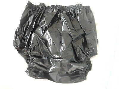 "Adult Baby Glossy Black Very Noisy Plastic Pants. Size L Large 29""-36"" Waist"