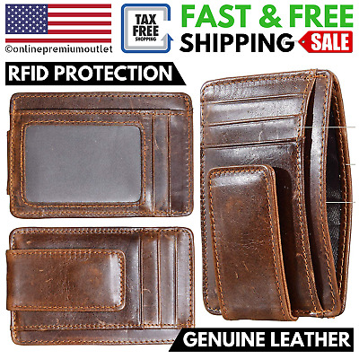 Mens Front Pocket Genuine Leather Money Clip Card ID RFID Blocking Slim Wallet