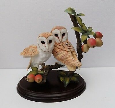 Country Artists  Barn Owl Pair With Crab Apples  Figurine