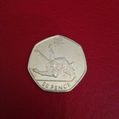 Circulated 2011 Olympic 50P Coin Judo In Capsule