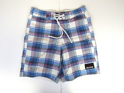 e39082c099 Hollister Men's Swim Board Shorts Trunks Size XS Plaid Blue Pink White