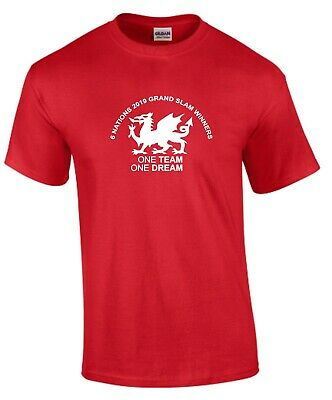 One Team One Dream Wales Six Nations 2019 Grand Slam Winners Kids Rugby T-Shirt