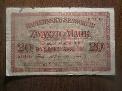 1918 Poland / Germany / Kowno 20 Mark