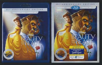 Disney Beauty And The Beast Blu-Ray + Dvd + Slipcover No Digital Hd *new*