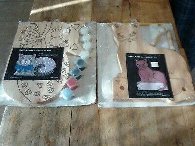 2 Vtg Deco Point Paint on Wood Kits Cat Themed
