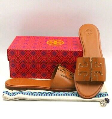 c8c551ff2436a TORY BURCH Ines Slide Sandals Women Size US 9M Tan Spark Gold Leather 50109