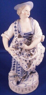 Antique 19thC Meissen Porcelain Lady w/Flowers Figurine Figure Porzellan Figur