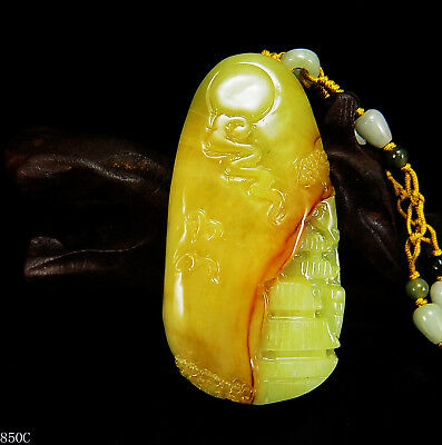 100% Natural Hand-carved Chinese Jade Pendant jadeite Necklace scenery 850c