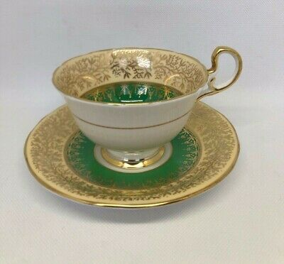 Aynsley England Green Gold Vines Cabbage Rose Cup & Saucer - Beautiful!