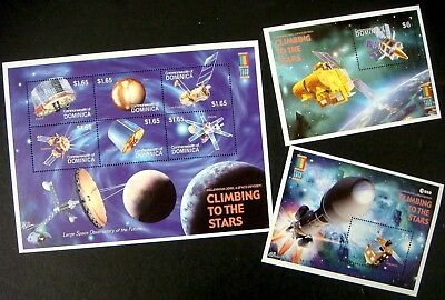 2000 Mnh 3 Dominica Climbing To The Stars Stamp Sheets Space Odyssey Echo 1