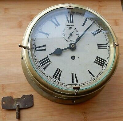 W.ELLIOTT Ltd BRASS SHIPS CLOCK ENAMELLED FACE AND SUB-SECONDS DIAL + KEY