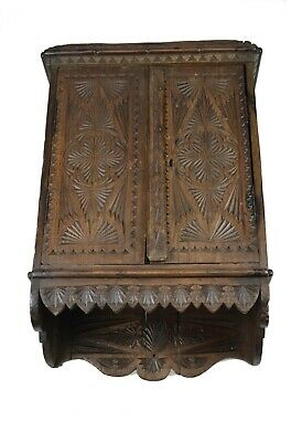 Antique Frisian Chip Carved Oak Wall Hanging Cabinet, Cupboard, Dutch.