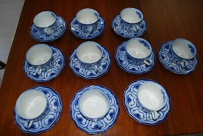 2 Cups & Saucers of Grindley Beaufort Pattern Flow Blue
