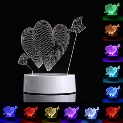 3D Heart Shape RGB USB Night Light Color Changing LED Table Lamp + 24 Key Contro