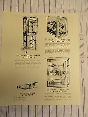 1920's Vintage Barber Portable Case Sterilizer/Antiseptic Manicure Glass Cases