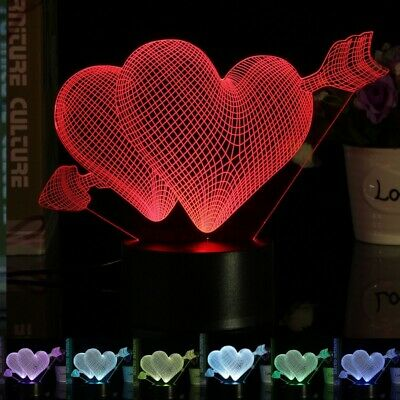 Love Arrow 3D Desk Table Lamp 7 Color Change LED Night Light Party Decor Gift