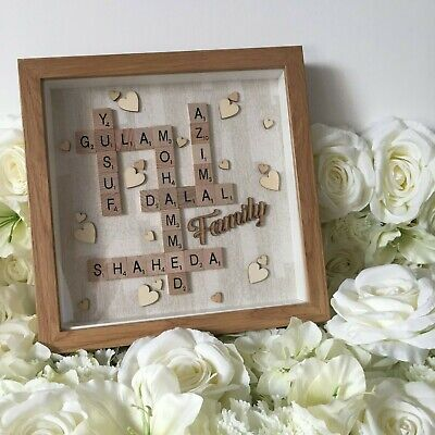 Silver Glitter Brushed Effect | Scrabble Art Picture | Wood Frame | Family NEW
