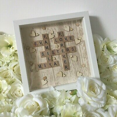 Beautiful Beige Wooden Effect | Scrabble Art Picture | White Frame | Family NEW