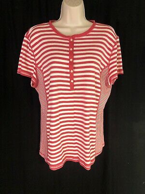b5cd8f67656 American Living Women s Short Cap Sleeve Striped Dark Pink Cream Top Size  XXL