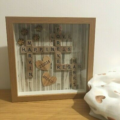 Beige Wooden Panel Effect | Scrabble Art Picture | Wood Frame | Family Pets NEW