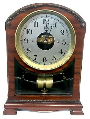 Stunning Mahogany French Electric Bulle Clock With Bevelled Glass Window
