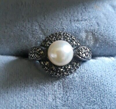 75404ce16cebee Vintage Sterling Silver Marcasite Cultured Pearl Art Deco Dome Ring size 4.5