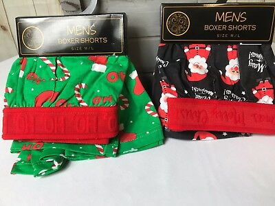 Merry Christmas Mens Size M/L Boxers- Santa Claus -Candy Cane Ho Ho 100% Cotton