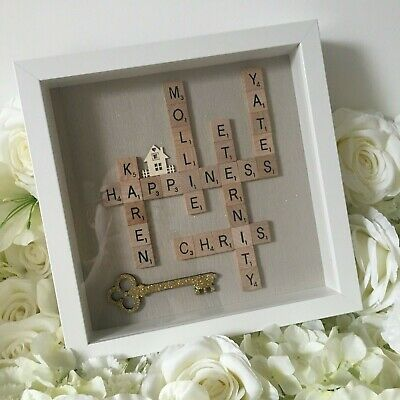 Glittered Taupe Brown | NEW HOME Scrabble Art Picture | White Frame | Family NEW