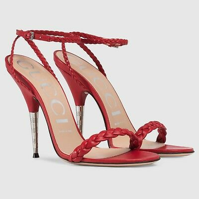 51b68679e GUCCI BRAIDED Leather hibiscus Red Sandals Ankle Strap 8/38 ...