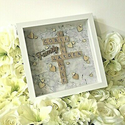 NEW Silver White Grey Marble | Family Scrabble Art Picture | White Frame