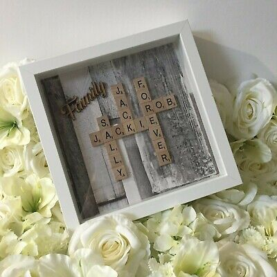 **NEW** Rustic Grey Wood Effect | Family Scrabble Art Picture | White Frame