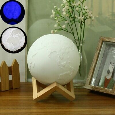 15cm Magical Two Tone Earth Table Lamp USB Rechargeable LED Blue White Night Lig