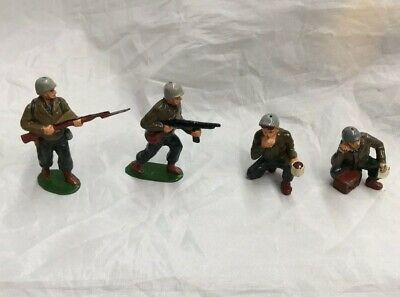 Timpo Vintage WWII Metal Soldiers Lot Of 4