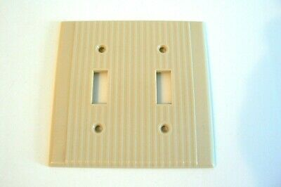 Leviton 2 Gang Toggle Switch Wall Plate Cover Ribbed Ivory Beige Bakelite.