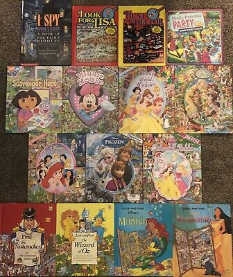 Look And Find Hidden Picture 15 Book Lot! I Spy, Disney Princess, Wizard Of Oz